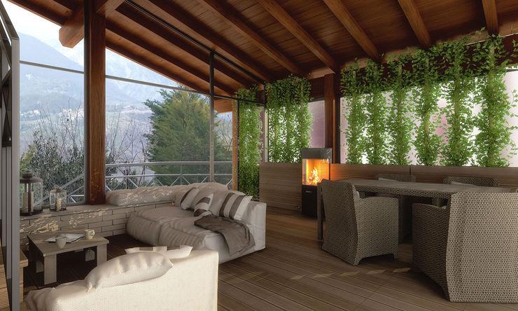 Zona Relax Architetto Luigia Pace Giardino d'inverno moderno Legno Grigio