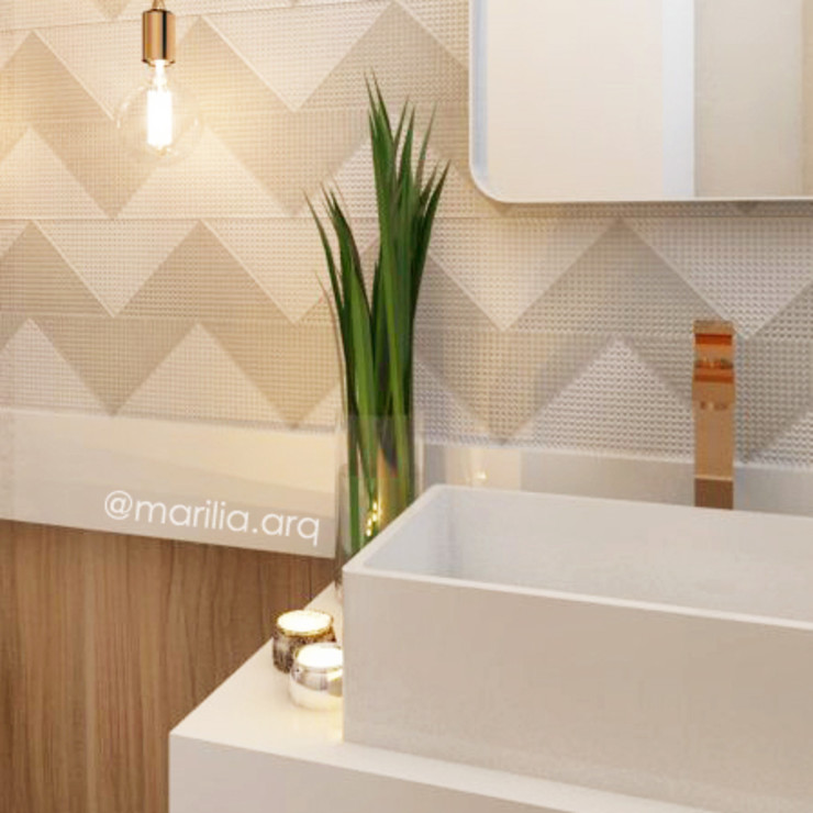 Marilia Zimmermann Arquitetura e Interiores Scandinavian style bathroom