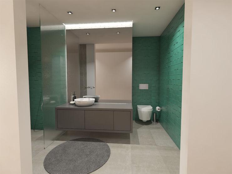 Apartamento BA14.3 - Instalação sanitária suite - simulação 3D The Spacealist - Arquitectura e Interiores Casas de banho modernas Turquesa