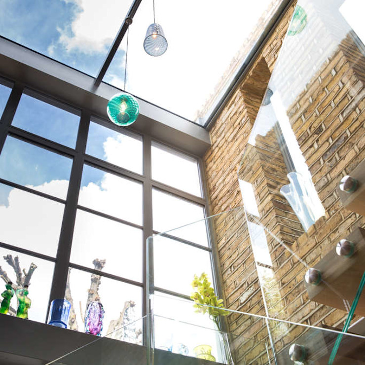Double height crittall style extension HollandGreen Eclectic style corridor, hallway & stairs
