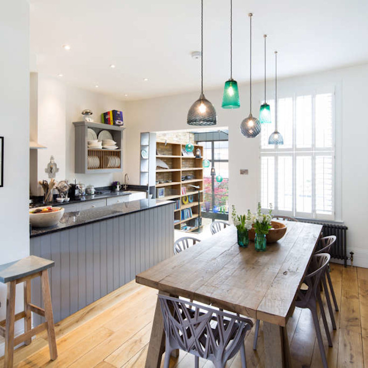 Double height crittall style extension HollandGreen Eclectic style dining room