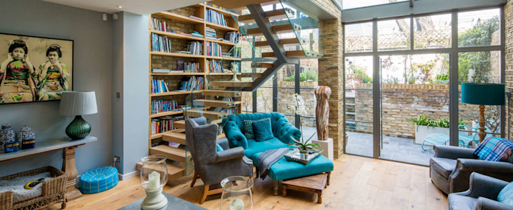 Double height crittall style extension HollandGreen Study/office