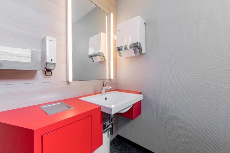 WC Waschtisch Ohlde Interior Design Moderne Bürogebäude MDF Rot