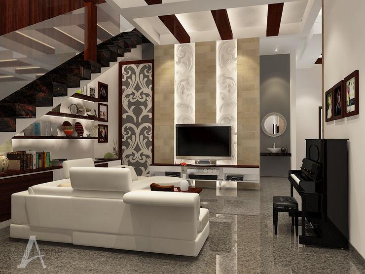 Ruang Keluarga bergaya campuran antara etnik dan modern PEKA INTERIOR Ruang Keluarga Modern Batu Beige