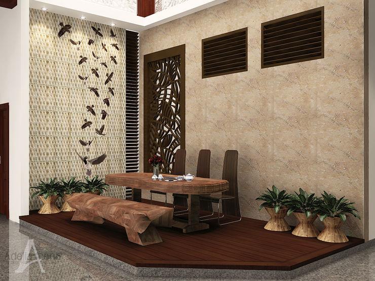 ruang makan PEKA INTERIOR Ruang Makan Tropis Kayu Brown