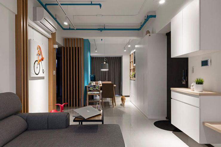 輕.透 築川設計 现代客厅設計點子、靈感 & 圖片