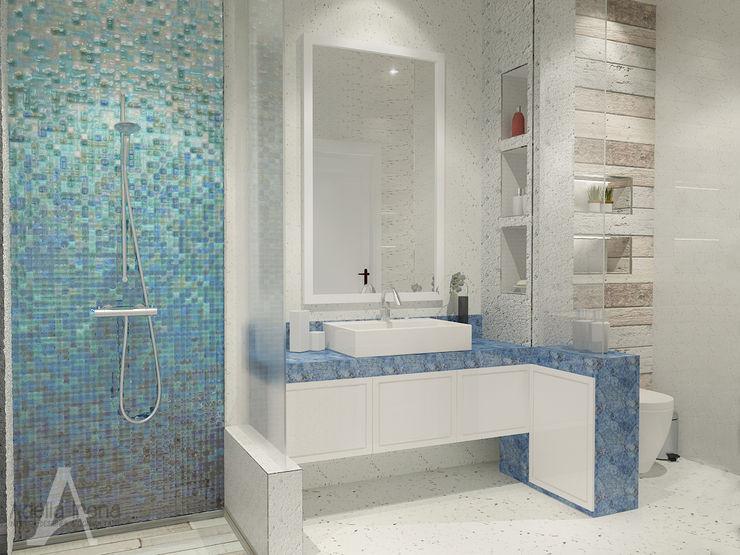 PEKA INTERIOR カントリースタイルの お風呂・バスルーム エンジニアリングウッド 青色