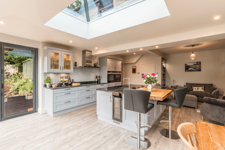High Peak. Stunning views of the High Peak countryside from this family room extension John Gauld Photography Modern style kitchen