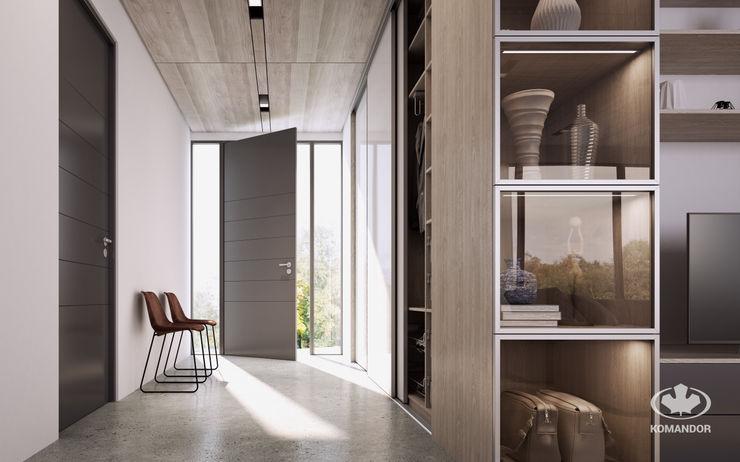 Komandor - Wnętrza z charakterem Modern Corridor, Hallway and Staircase Glass White