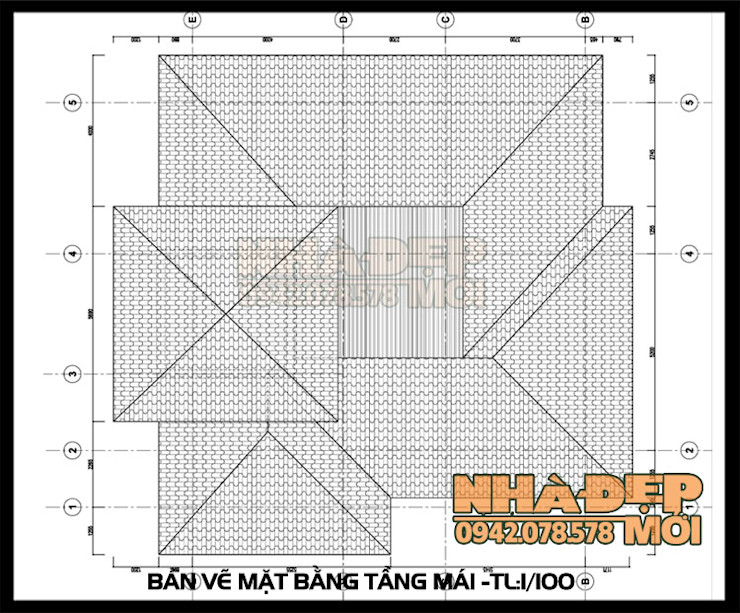 Bản vẽ thiết kế mặt bằng mái Công ty TNHH TKXD Nhà Đẹp Mới Biệt thự