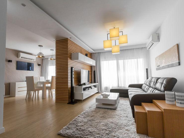 Reception - Living room CUBEArchitects Livings de estilo minimalista Blanco