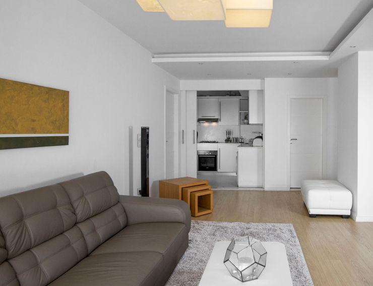 Living room - open Kitchen CUBEArchitects Livings de estilo minimalista Blanco