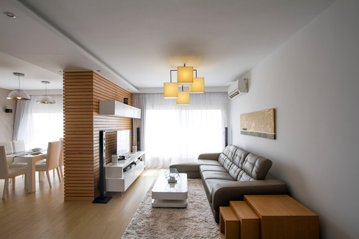 Living Area CUBEArchitects Livings de estilo minimalista Madera Blanco