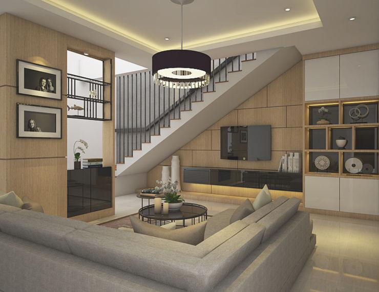 Veon Interior Studio Modern Oturma Odası İşlenmiş Ahşap Ahşap rengi