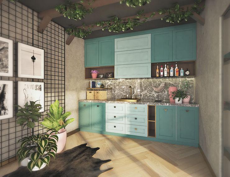 Veon Interior Studio İskandinav Mutfak Ahşap Yeşil