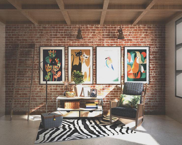 Veon Interior Studio Rustik Multimedya Odası Tuğla Rengarenk