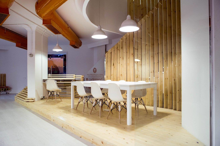 Ground Floor Meeting Area CUBEArchitects Complesso d'uffici in stile minimalista
