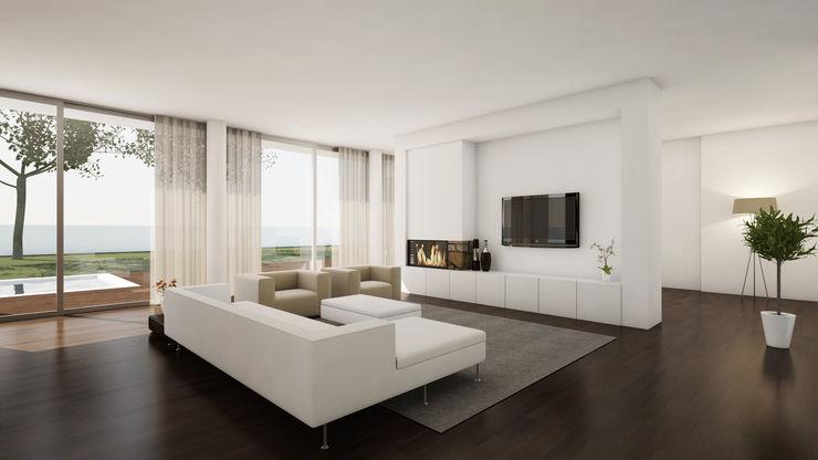 Moradia Unifamiliar comSequência - Arquitectura & Design Salas de estar modernas