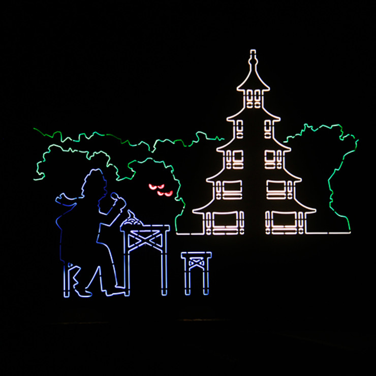 Chinesischer Turm bei Nacht Architekturbüro Michael Bidner Holzhaus Holz