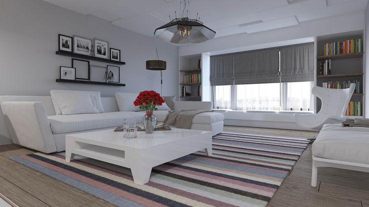 Mesa Sitesi Magic Mimarlık Modern Oturma Odası Ahşap Beyaz