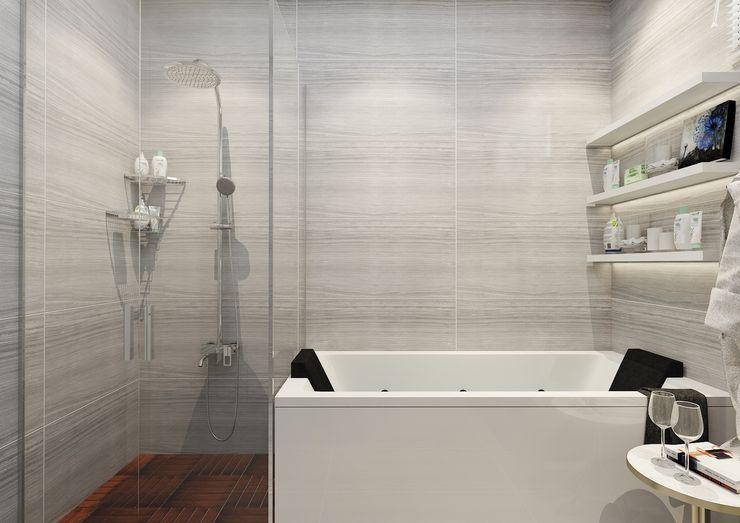 PRATIKIZ MIMARLIK/ ARCHITECTURE 現代浴室設計點子、靈感&圖片 陶器 Grey