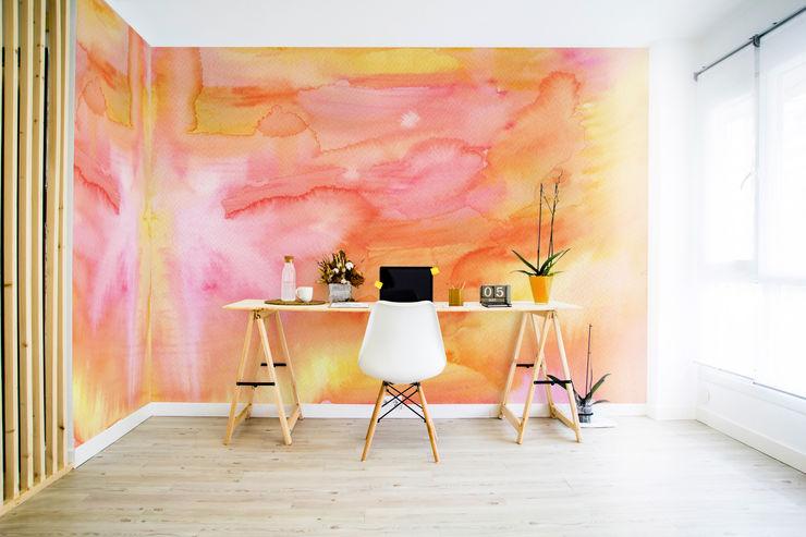 Watercolor Sunset Pixers Ruang Studi/Kantor Minimalis Orange