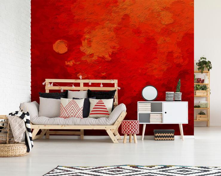 The Depth of Red Pixers Ruang Keluarga Modern Red