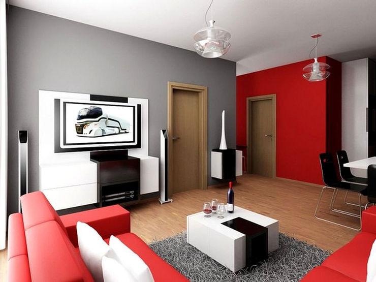 Tips Memilih Warna Cat Pada Rumah homify.co.id Dinding & Lantai Minimalis Red