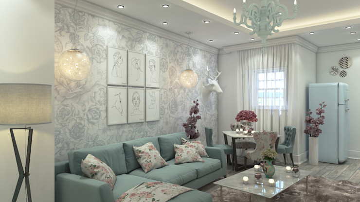 Villa 311 Rêny Modern Living Room Turquoise