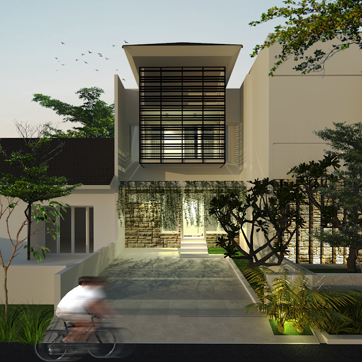 House 1 SEKALA Studio Rumah keluarga besar Batu Bata White