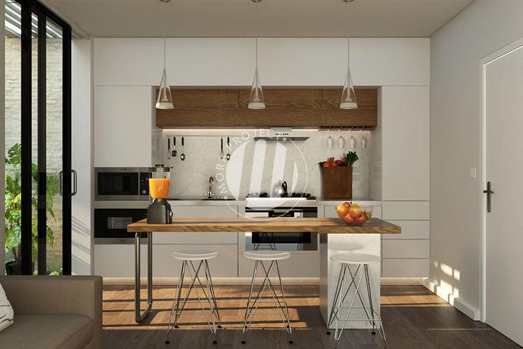 Dapur & Ruang Makan Maxima Studio Medan Interior Design & Arsitek Unit dapur Kayu Grey
