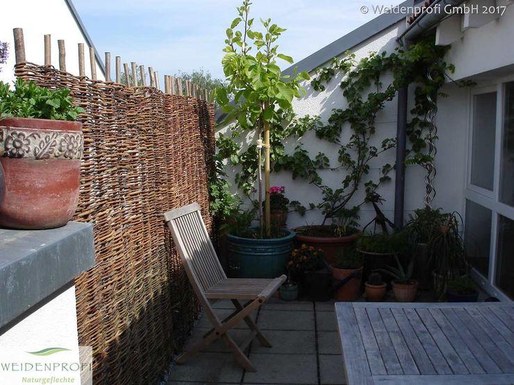 Weidenzaun als Sichtschutz für Balkon naturgeflechte24 Ausgefallener Garten Holz Braun