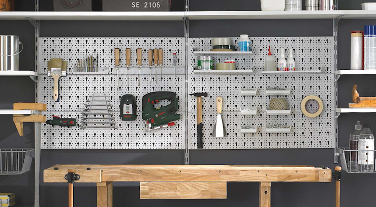 P-SLOT Shelving Systems create order - Peg Board Regalraum UK Подвійний гараж