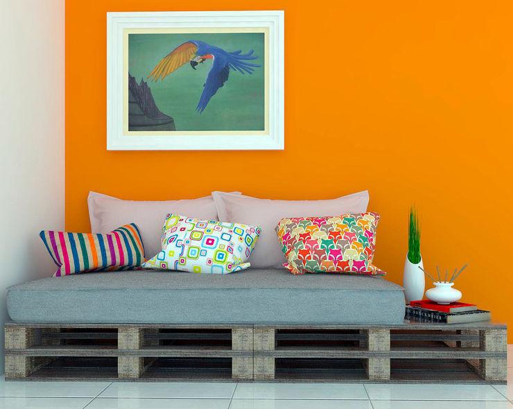 Sofá em Pallet Jéssika Martins Design de Interiores Salas de estar rústicas Madeira Laranja