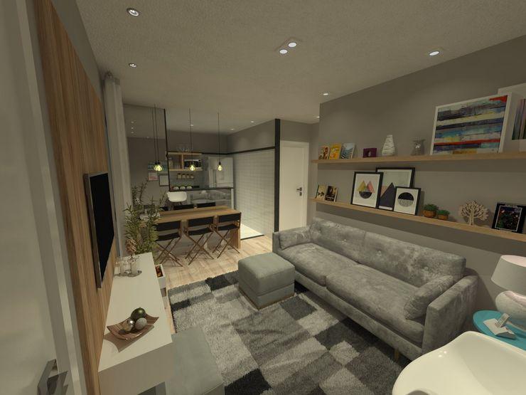 Sala de estar + jantar com cozinha integrada Studio BRTA Salas de estar escandinavas Cinza