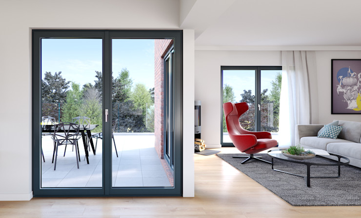 Oknoplast uPVC windows Wood-Plastic Composite Grey