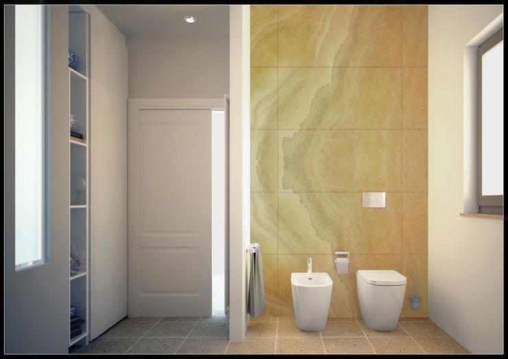 Ingresso e parete sanitari _ Bagno zona giorno AG Interior Design Bagno moderno Piastrelle Ambra/Oro