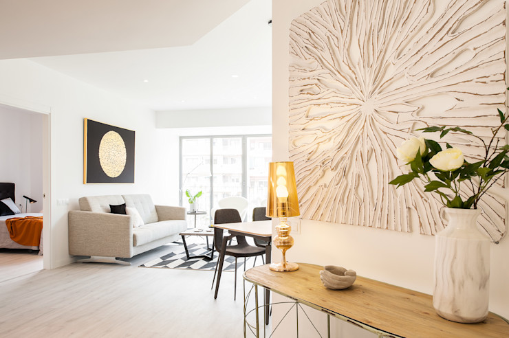 Recibidor Markham Stagers Pasillos, vestíbulos y escaleras de estilo moderno Blanco