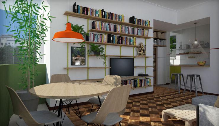 Sala NATALIA BARTOLOMEO ARQUITETURA | DESIGN STUDIO Salas de jantar escandinavas Madeira Vermelho