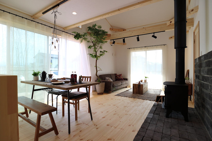 85inc. Industrial style dining room Wood Wood effect