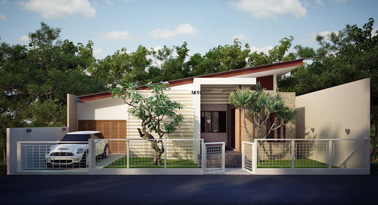 Genta House Griya Cipta Studio Single family home Stone Wood effect