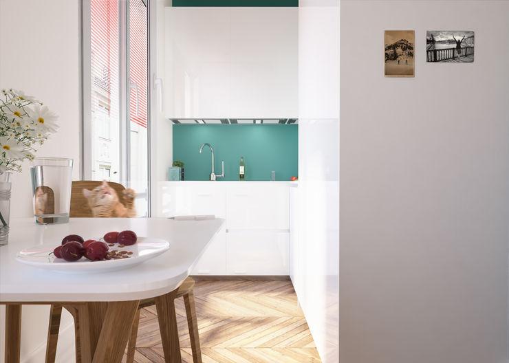 PRS-PMC laib architecture Cucina minimalista Turchese