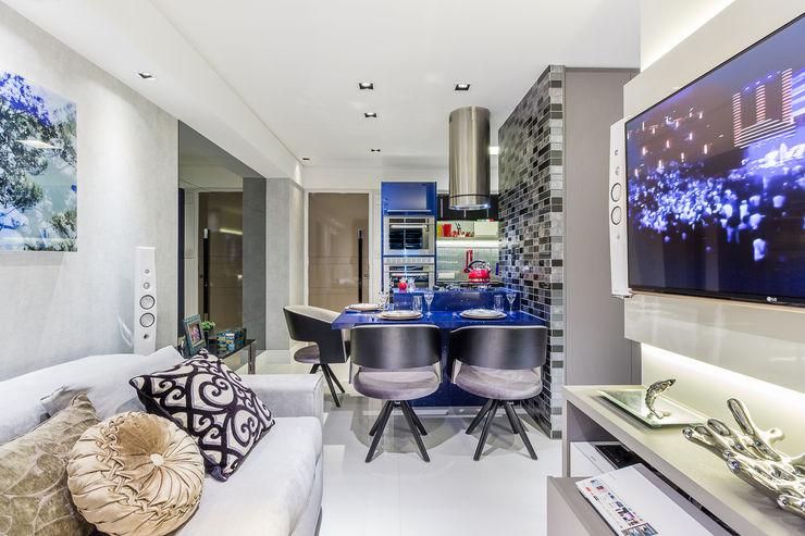 Estar   Jantar Intergrados Arquitetura Sônia Beltrão & associados Salas de jantar modernas Pedra Azul