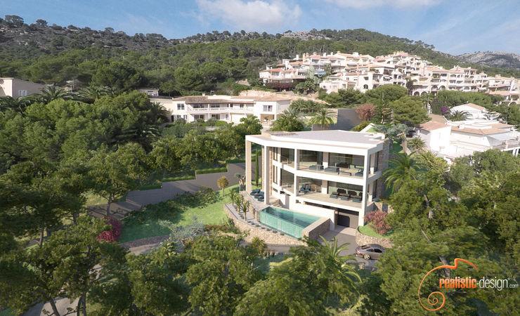 Perspectiva 3D de la vivienda en su entorno Realistic-design Villas