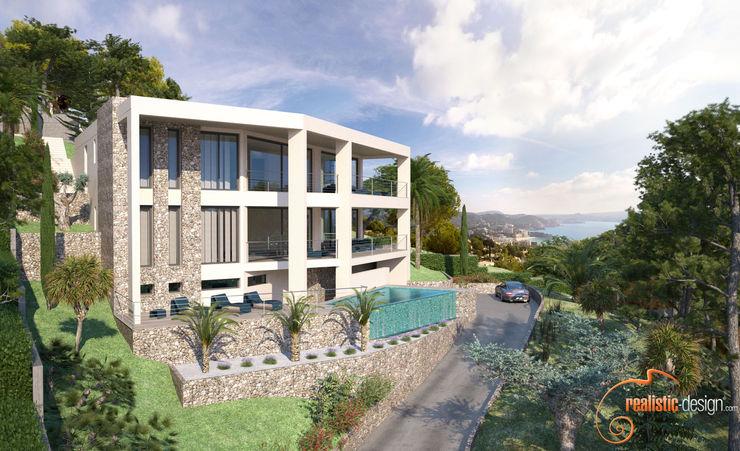 Perspectiva 3D de la facahada de la vivienda con vistas al mar Realistic-design Villas