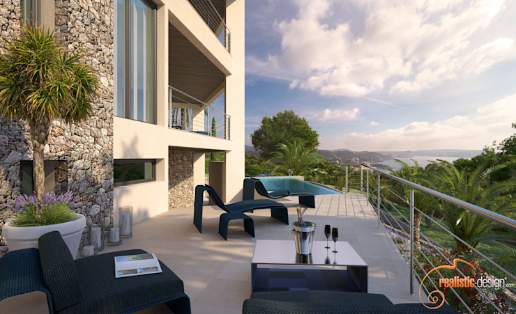 Perspectiva 3D de la terraza y piscina Realistic-design Balcones y terrazas de estilo moderno