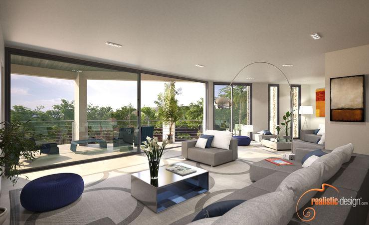 Perspectiva 3D del salón Realistic-design Salones de estilo moderno
