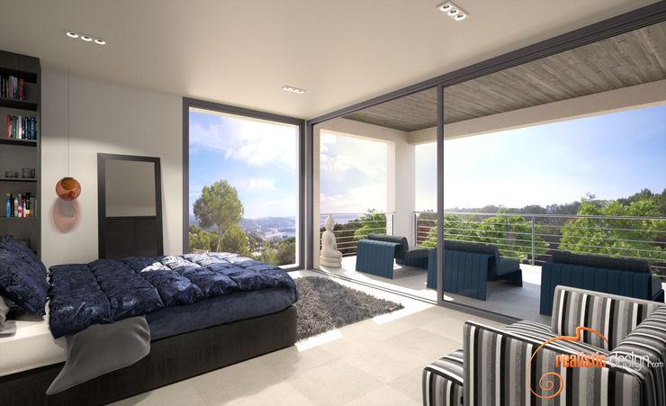 Perspectiva 3D de una de las habitaciones Realistic-design Dormitorios de estilo moderno