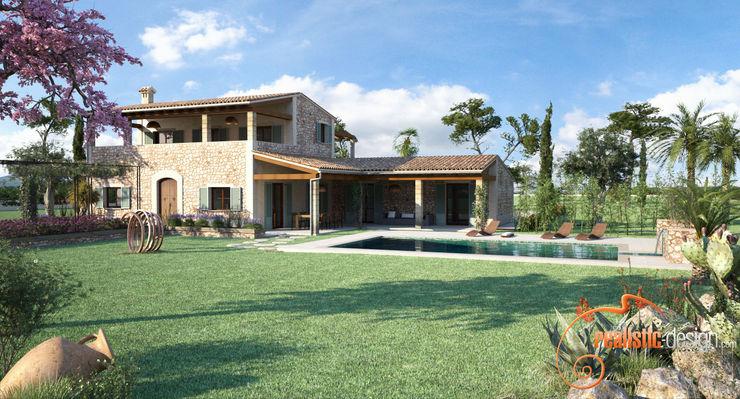 Perspectiva 3D de la facahda trasera y piscina Realistic-design Casas unifamilares