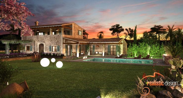 Perspectiva 3D de noche de la facahada trasera y piscina Realistic-design Casas unifamilares